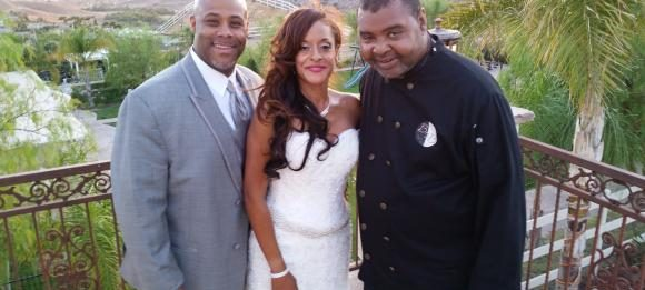 Chef James Cameron with Bride and Groom - B2B Catering
