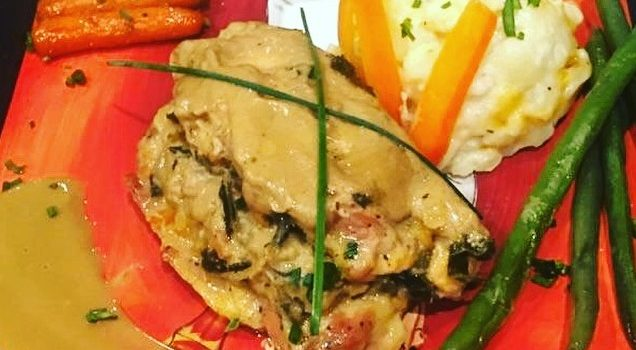 Stuffed Moroccan Chicken with scalloped potatoes